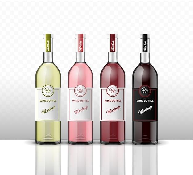Mock up di quattro bottiglie di vino su uno sfondo trasparente.