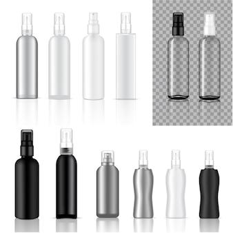 Derida sull'illustrazione cosmetica realistica del fondo delle bottiglie di spruzzo