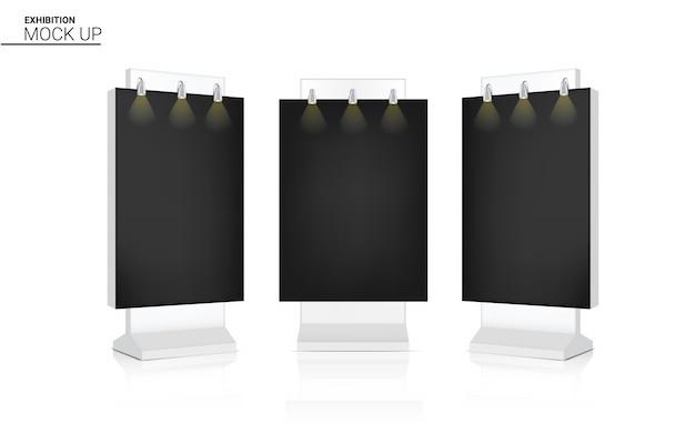 Mock up realistico roll up banner chiosco display 3d pop cabina in vendita promozione di marketing con spotlight