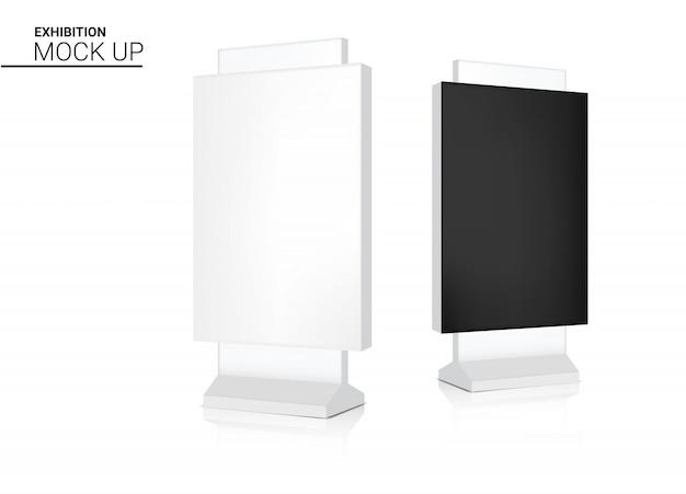 Mock up realistico roll up banner kiosk stand di visualizzazione per la vendita di marketing promozione