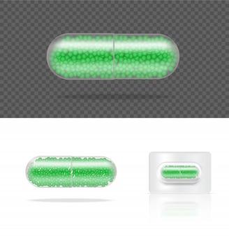 Mock up pannello trasparente realistico della capsula della medicina della pillola su bianco