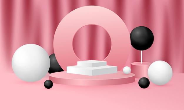 Mock up illustrazione di scena con forma geometrica del podio sul rosa