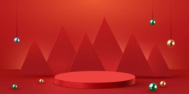 Mock up scena podio per cosmetici e prodotti display piedistallo palco o piattaforma inverno natale re ...