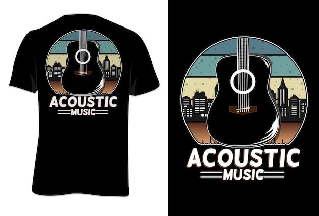 Mock up t-shirt musica acustica stile retrò vintage