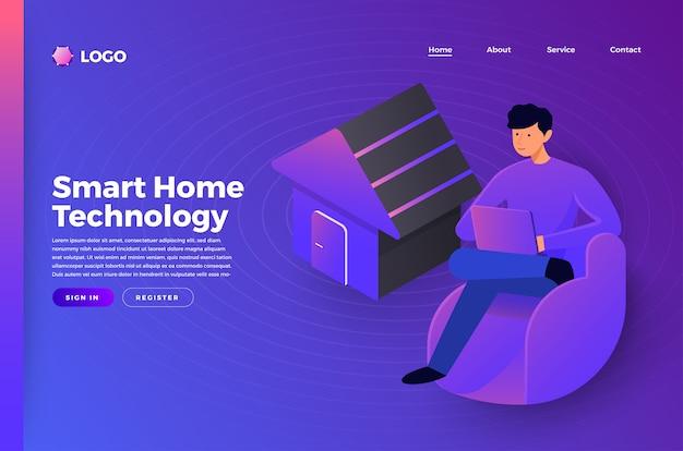 Persone di concetto di pagina di destinazione del sito web di mock-up che collegano la tecnologia smarthome. illustrare.