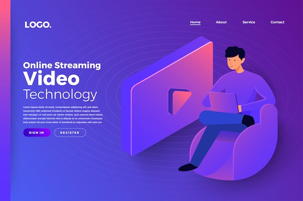 Mock-up website landing page concept people online video technology. illustrare.
