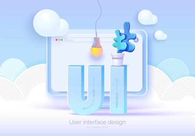 Monitor 3d mockup con elementi dell'interfaccia utente per il web design creatore di software