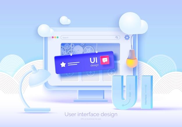 Mockup monitor 3d con elementi dell'interfaccia utente per il web design creatore di software
