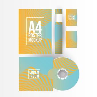 Mockup a4 poster di carta cd e design di carte del modello di identità aziendale e del tema del marchio