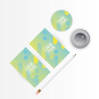 Mockup a4 poster carte matita e spille design del modello di identità aziendale e tema del marchio