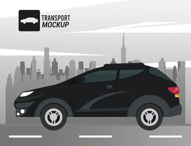 Icona isolata di colore nero auto mockup.