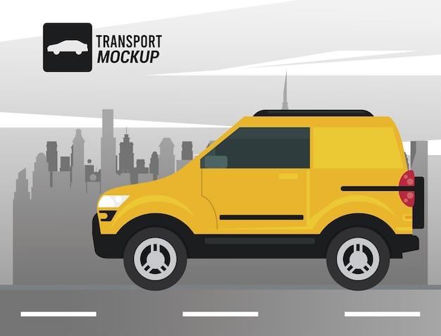 Icona di colore giallo auto mockup.