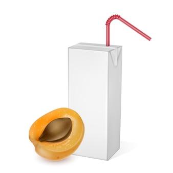 Mockup del pacchetto di cartone di succo di albicocca isolato su bianco. modello