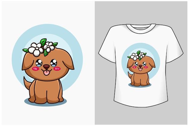 Illustrazione del fumetto del cane marrone sveglio del mockup