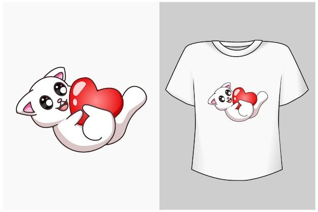Simpatico gatto mockup con cartone animato d'amore