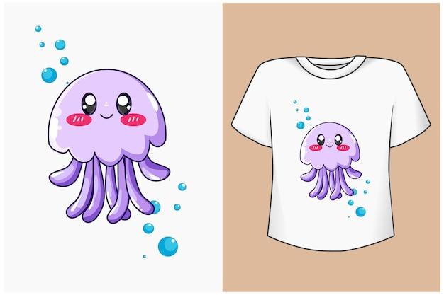 Illustrazione del fumetto di meduse carino mockup