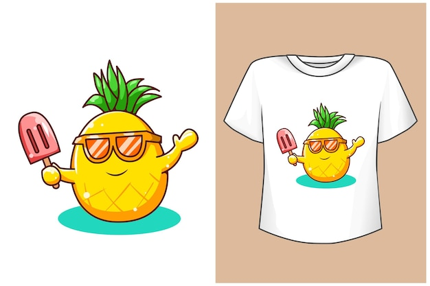 Mockup ananas carino con gelato