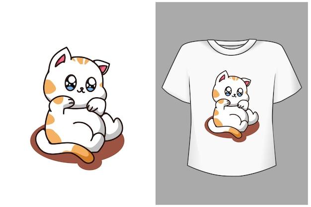 Mockup carino grazioso gatto cartoon illustrazione