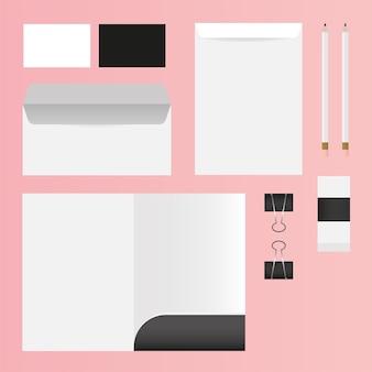Progettazione di file e buste mockup del modello di identità aziendale e del tema del marchio