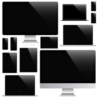 Mockup di gadget e dispositivi di stilo, smartphone, tablet, laptop e monitor di computer con salvaschermo nero isolato