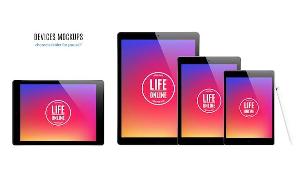 Mockup di gadget e dispositivi di stilo smartphone tablet laptop e monitor del computer