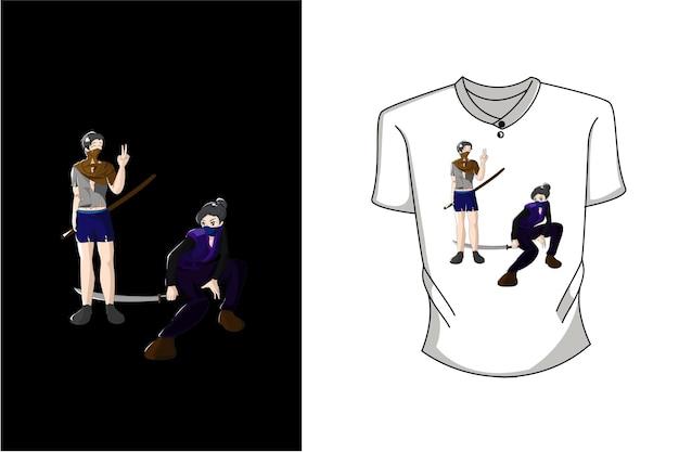 Mockup ragazza e ragazzo con illustrazione di design del personaggio della spada