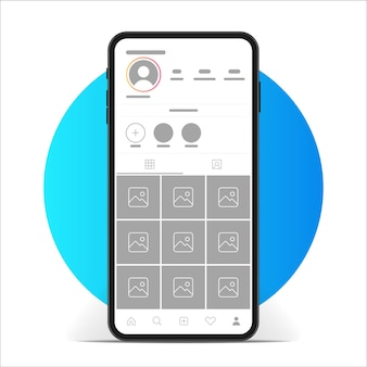 Mockup dell'app dell'interfaccia di instagram.