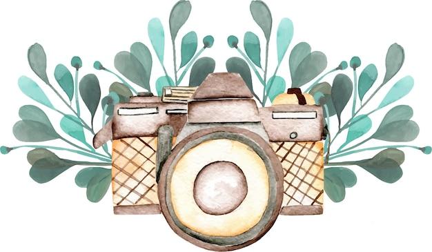 Mockup del logo con fotocamera ad acquerello e elementi floreali