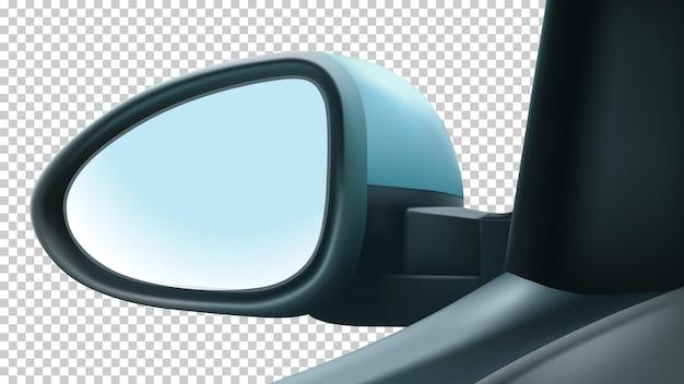 Specchio mockup sinistro del conducente. con uno spazio bianco per inserire un'immagine.
