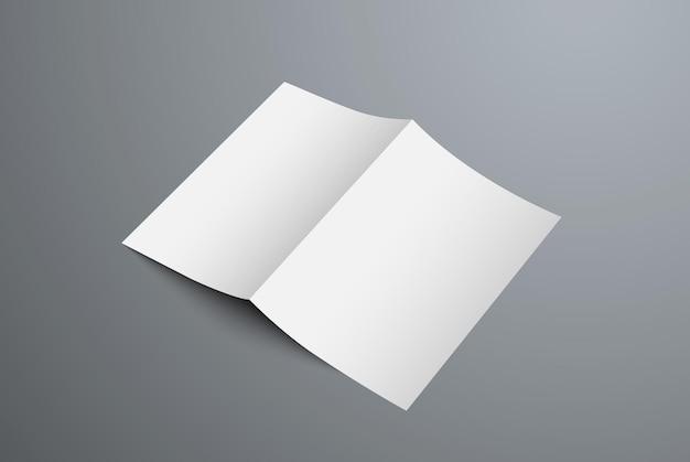 Mockup brochure bifold aperta per la presentazione del design della copertina e della pagina posteriore. modello di modulo vuoto realistico isolato su priorità bassa.
