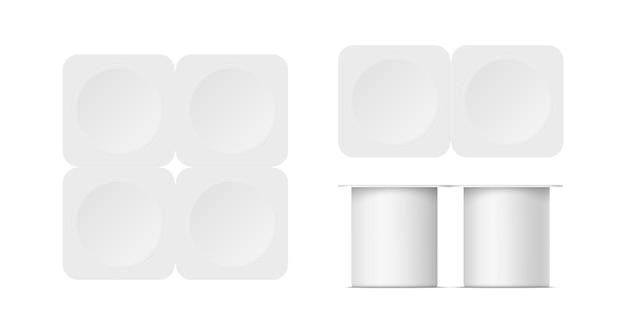 Mockup di contenitore di yogurt in plastica con coperchio isolato su sfondo bianco. confezione vuota realistica vettoriale di quattro confezioni di yogurt, gelato, marmellata o crema acida. illustrazione 3d. vista frontale e dall'alto.