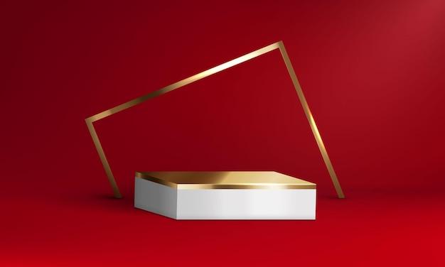 Forme geometriche in oro rosso con piattaforma mockup per la presentazione del prodotto. vettore