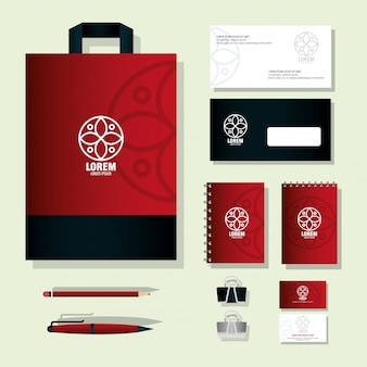 Forniture di cancelleria mockup, colore rosso con segno bianco, identità aziendale del marchio mockup
