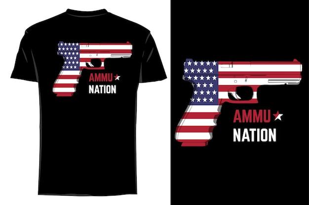 Mockup t-shirt munizioni pistola americana retrò vintage