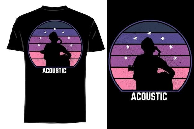 Mockup t-shirt silhouette acustica retrò vintage