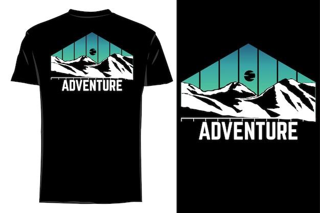 Mockup t-shirt silhouette avventura montagna retrò vintage