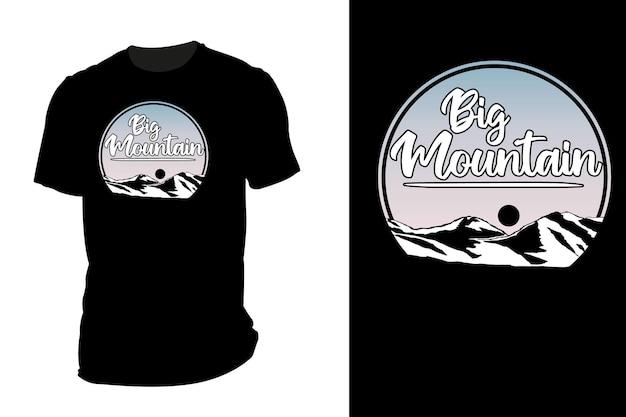 Mockup t-shirt silhouette grande montagna retrò vintage