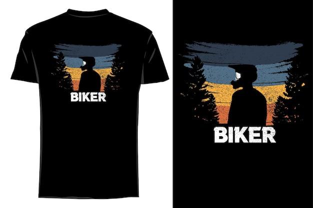 Mockup t-shirt silhouette motociclista retrò vintage