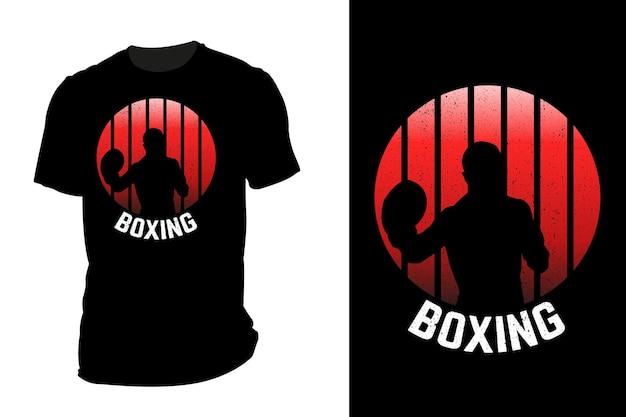 Mockup t-shirt silhouette boxe retrò vintage