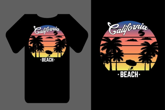 Mockup t-shirt silhouette california beach retrò vintage