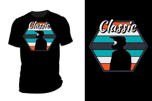Mockup t-shirt silhouette classico pilota di motocross retrò vintage