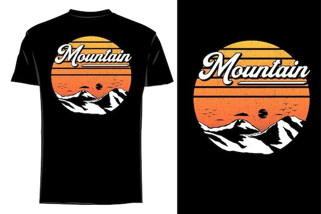 Mockup t-shirt silhouette classica montagna retrò vintage