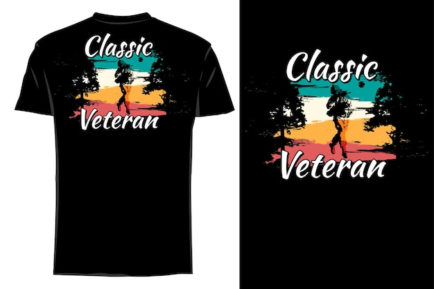 Mockup t-shirt silhouette classico soldato retrò vintage