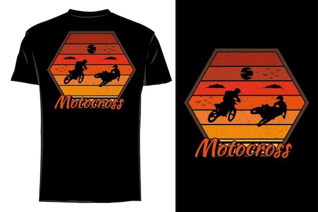 Mockup t-shirt silhouette duo motocross retrò vintage