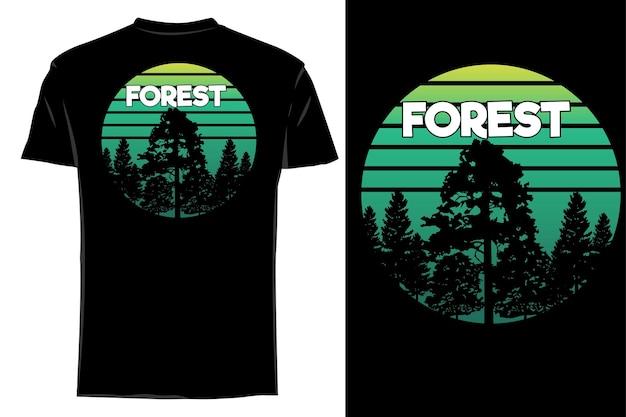 Mockup t-shirt silhouette foresta retrò vintage
