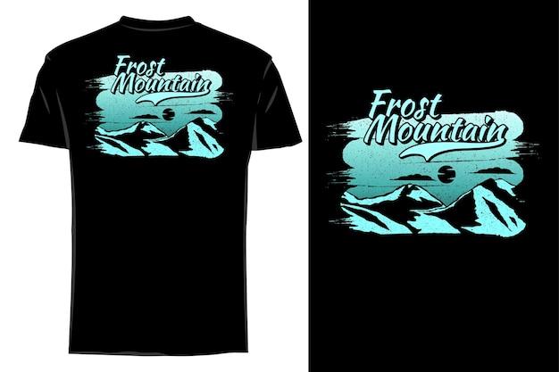 Mockup t-shirt silhouette gelo montagna retrò vintage