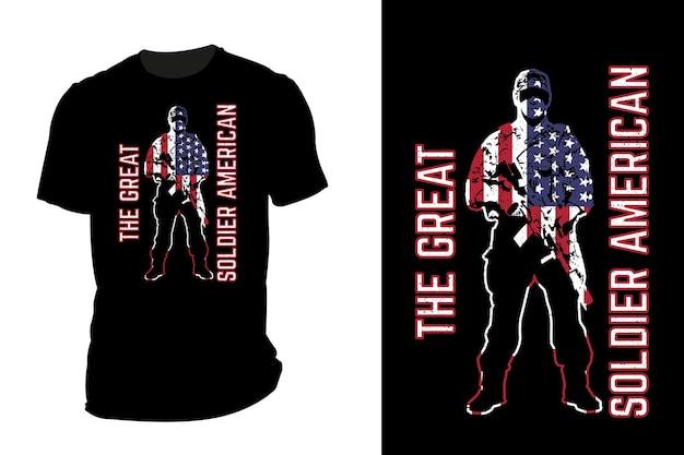 Mockup t-shirt silhouette il grande soldato americano retrò vintage