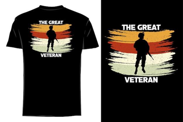 Mockup t-shirt silhouette il grande veterano retrò vintage