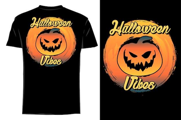 Mockup t-shirt silhouette halloween vibes retrò vintage