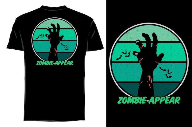 Mockup t-shirt silhouette halloween zombie appaiono retrò vintage